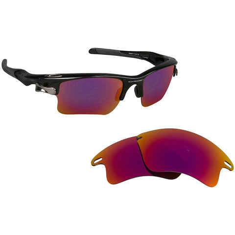 115dc612eb Black Red Mirrored Polarized Lens for Oakley Fast Jacket XL frame