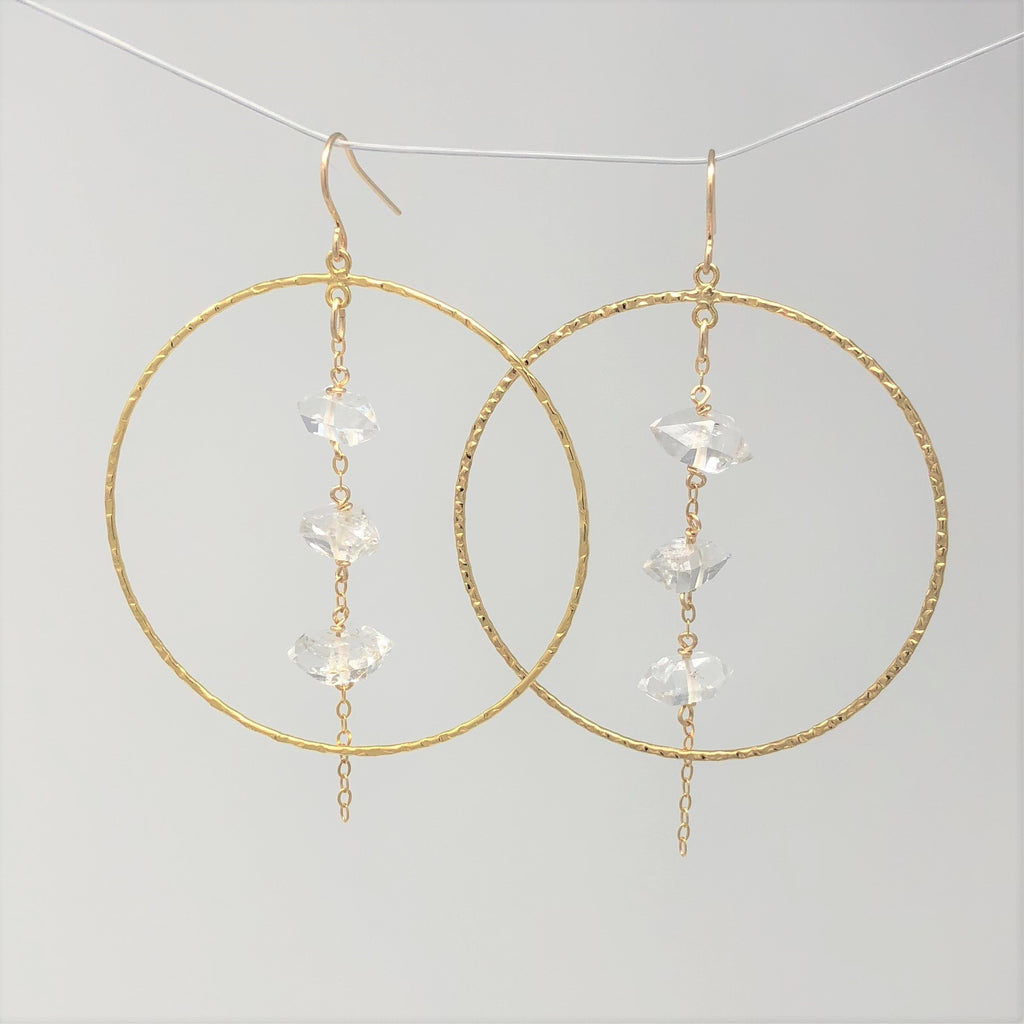 THREE Dangling Herkimer Gold Fill Hammered Circle Hoop Earrings