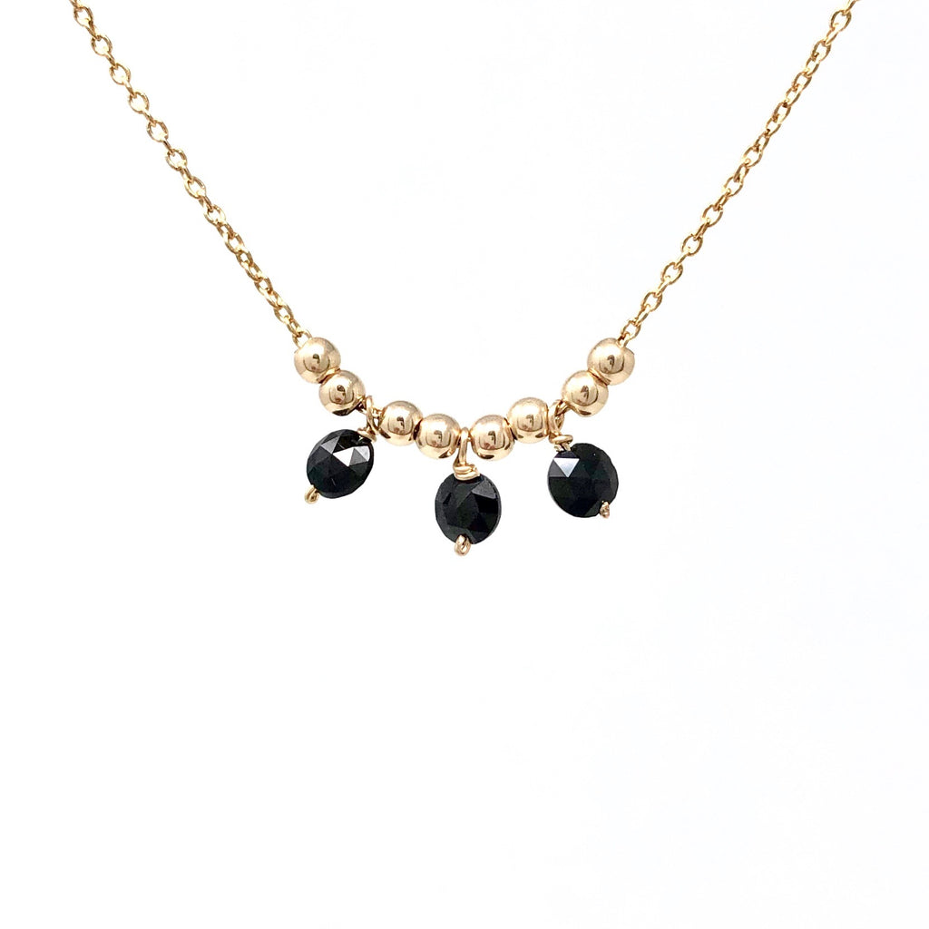 Three Black Onyx Stone Cluster Necklace