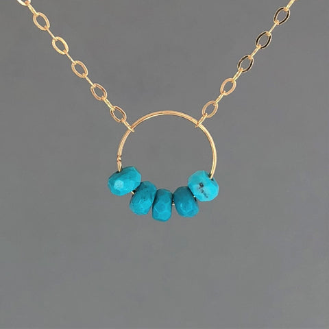 Five Turquoise Stone Gold Fill Circle Necklace also in Rose Gold Fill and Silver