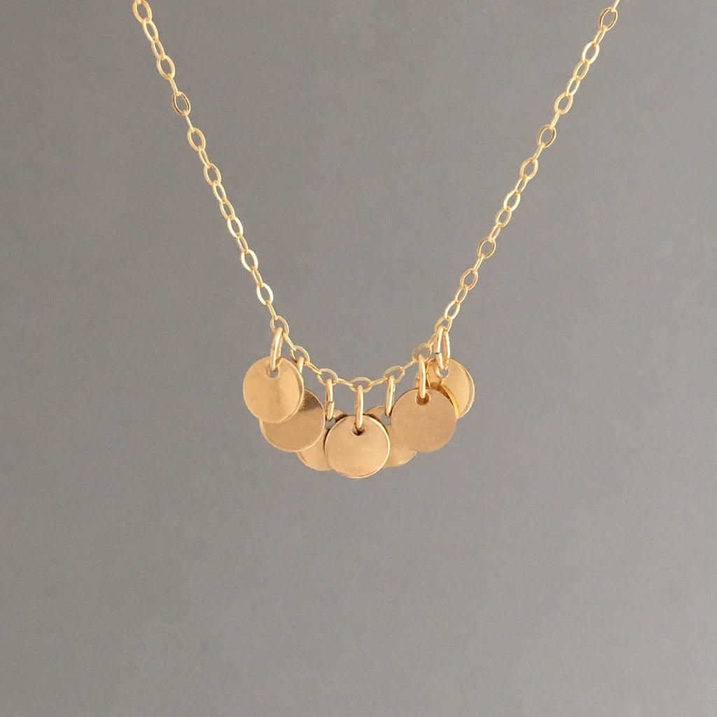 Seven Disc Necklace in Gold, Silver, or Rose Gold
