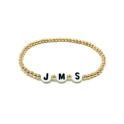 CUSTOM Personalized Gold Bead Bracelet also available in Silver and Rose Gold