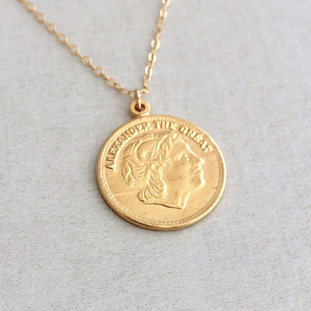 Two-Sided Ancient Coin ALEXANDER THE GREAT Pendant Gold Necklace