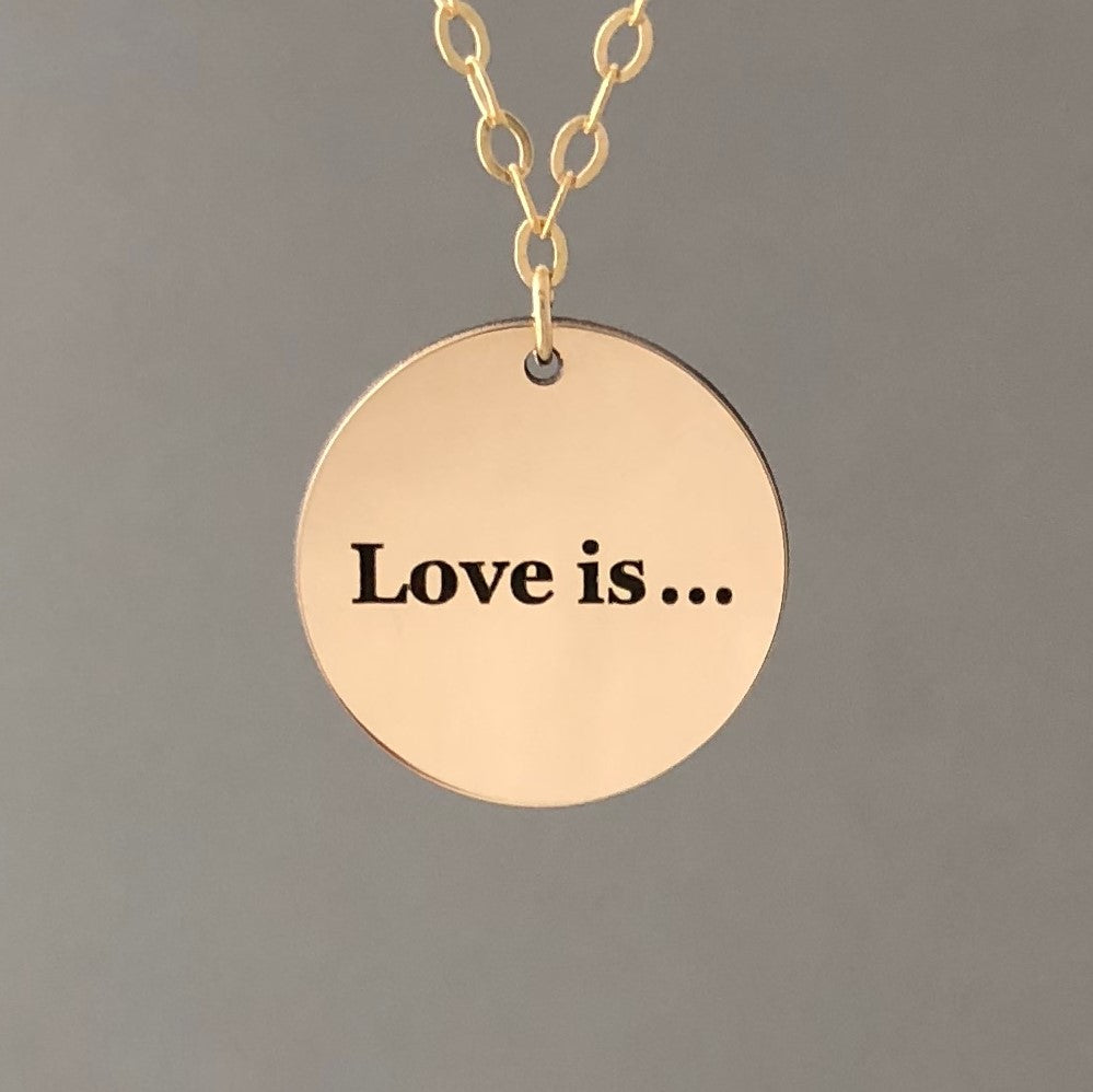 ONE-SIDED ENGRAVED Gold Fill DISC Necklace also in Rose Gold and Silver
