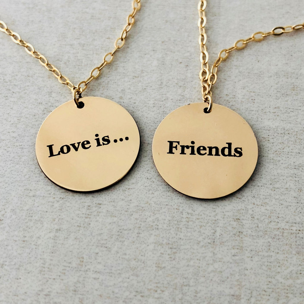 TWO-SIDED ENGRAVED Gold Fill DISC Necklace also in Rose Gold and Silver