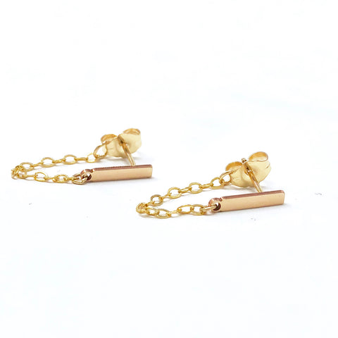Bar and Chain Post Earrings in Gold Fill, Rose Gold Fill, or Sterling Silver
