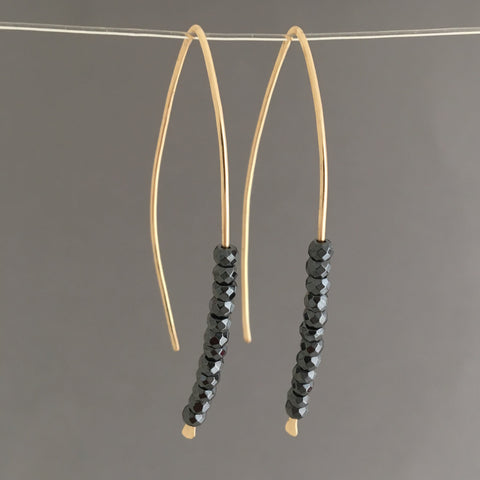 Black Hematite Wishbone Threader Earrings in Gold Fill, Rose Gold Fill, or Sterling Silver
