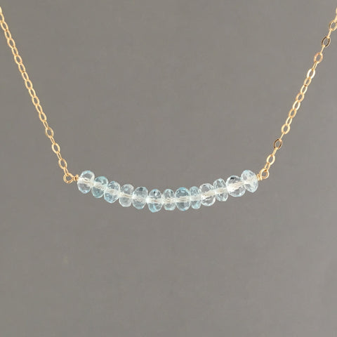 Blue Topaz Curved Beaded Necklace