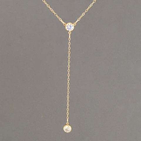 CZ Lariat Gold Necklace