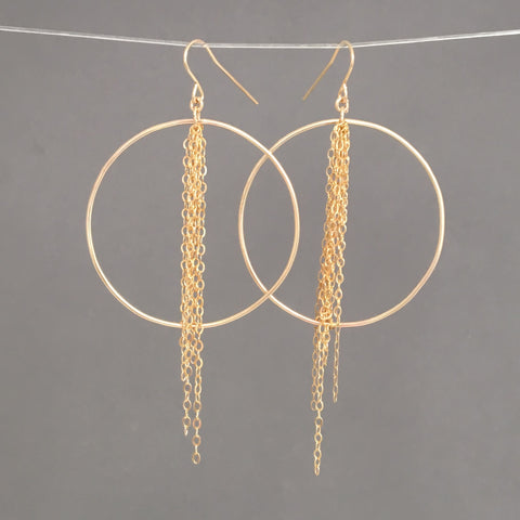 Chain Hoop Earrings in Gold Fill, Rose Gold Fill, or Silver