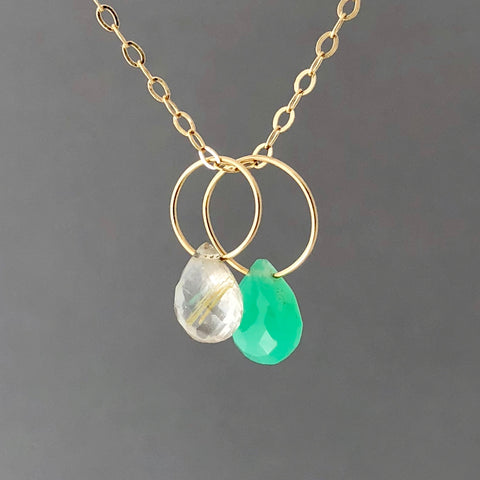 Chrysoprace and Rutilated Quartz Gold Fill Circle Necklace also in Silver and Rose Gold Fill