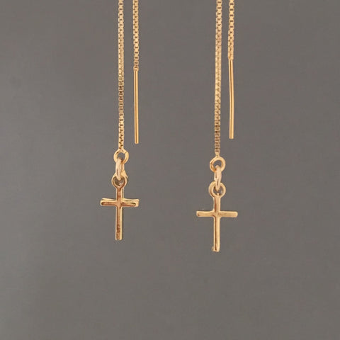 Cross Box Chain Threader Earrings in Gold Fill or Sterling Silver