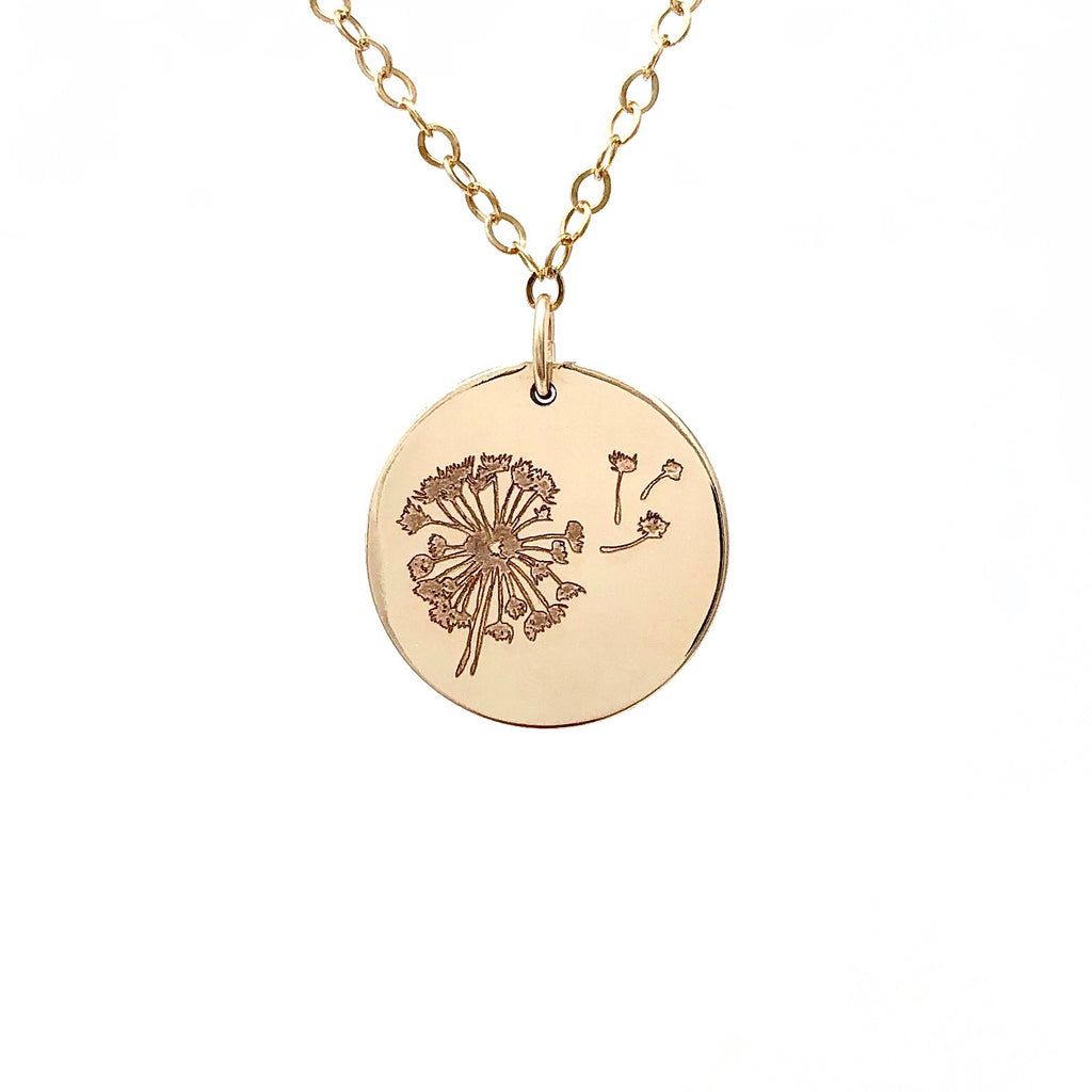 DANDELION ENGRAVED Gold Fill Disc Necklace also in Rose Gold and Silver