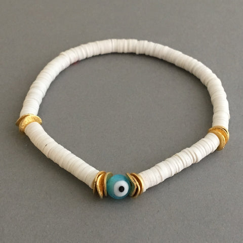 Evil Eye and Gold Disc White Vinyl Beaded Bracelet Also in Sterling Silver
