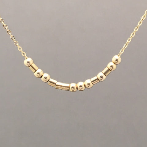 Custom FINE CHAIN Small Bar Gold Fill Morse Code Necklace