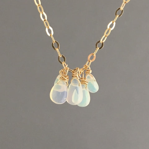 Five Ethiopian Opal Teardrop Necklace