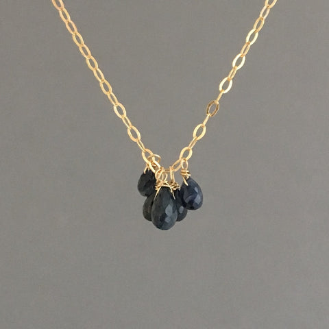 FIVE Teardrop Sapphire Stone Necklace available in Gold, Rose Gold, or Silver