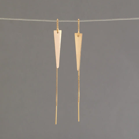 Gold Fill Spike Box Chain Threader Earrings