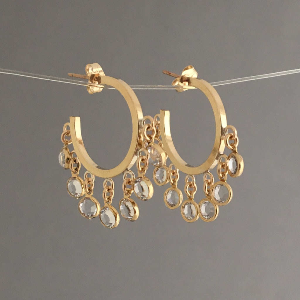 Seven Swarovski Crystal Gold Hoop Earrings