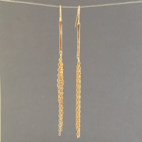 Hammered Bar and Chain Earrings in Gold Fill, Rose Gold Fill, or Silver