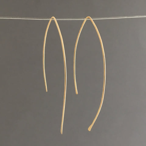 Hammered Wire Wishbone Threader Earrings in Gold Fill, Rose Gold Fill, or Sterling Silver