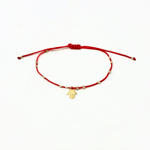 Adjustable Hamsa and Smashed Bead Macrame Bracelet