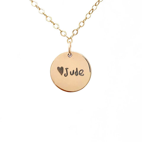 ENGRAVED HANDWRITING Gold Fill Disc Necklace also in Rose Gold and Sterling Silver