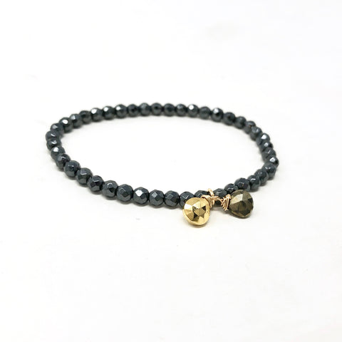 Hematite Beaded Bracelet with Gold Pyrite Stones