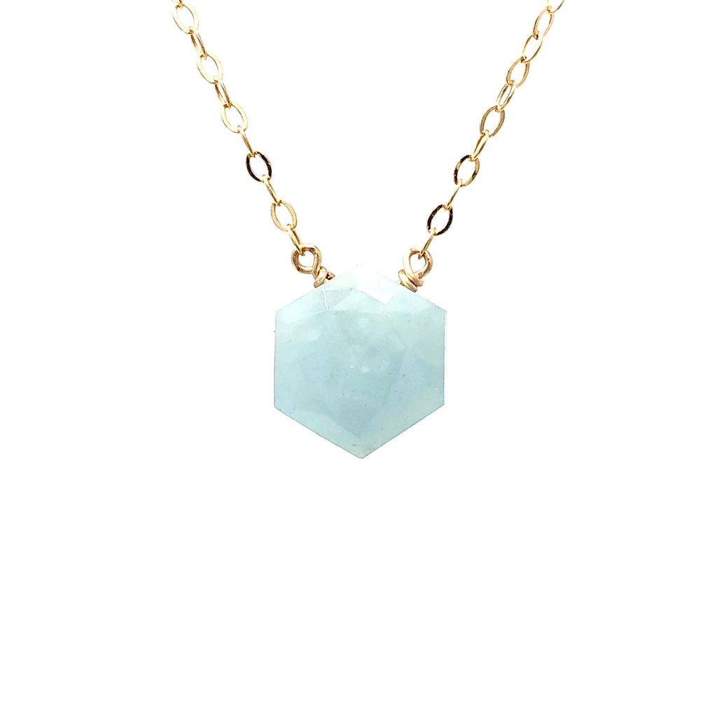 Hexagon Amazonite Stone Necklace
