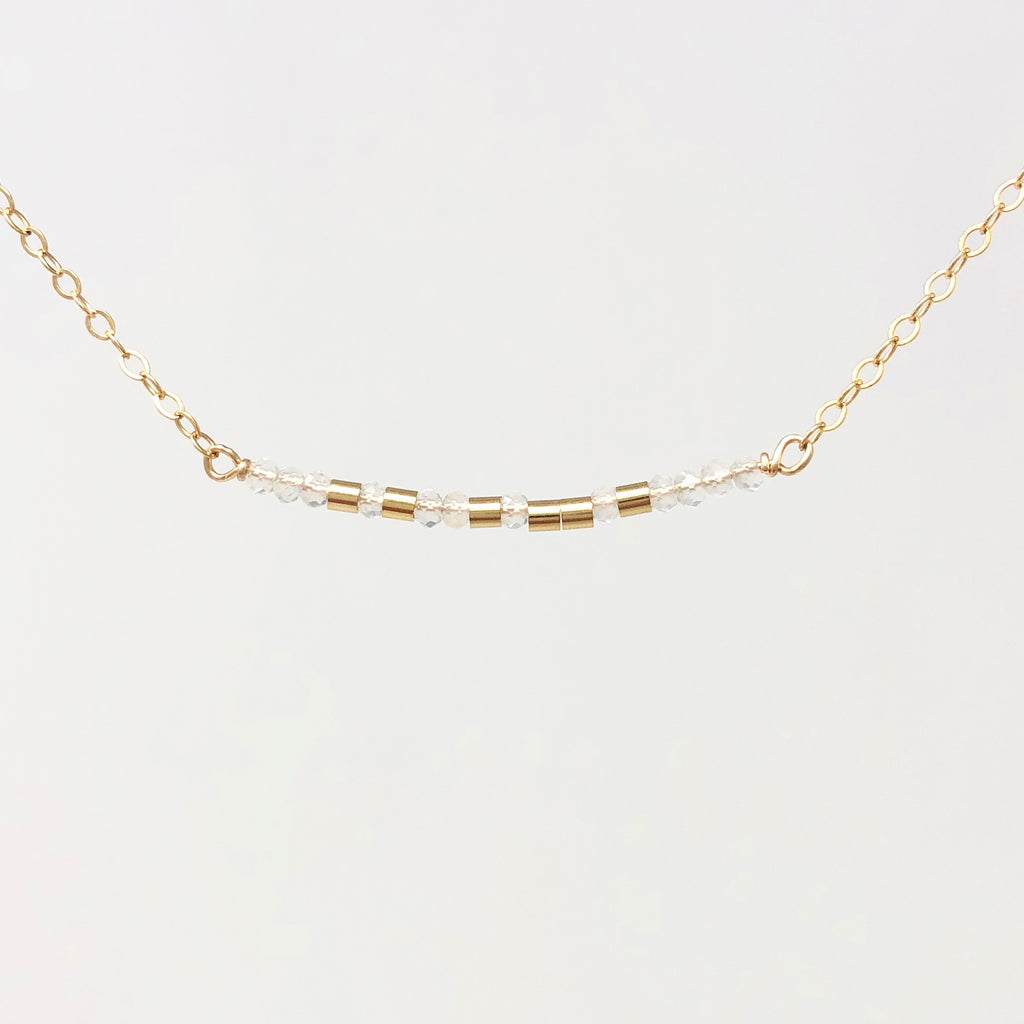 MOONSTONE Small Bar Morse Code Necklace