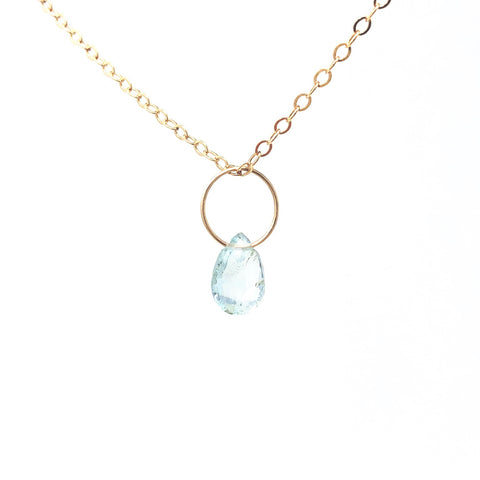 Aquamarine Stone Circle Necklace