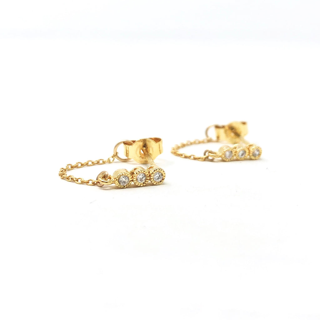 Tic Tac Stud Chain Swarovski Gold Earring also in Rose Gold and Sterling Silver