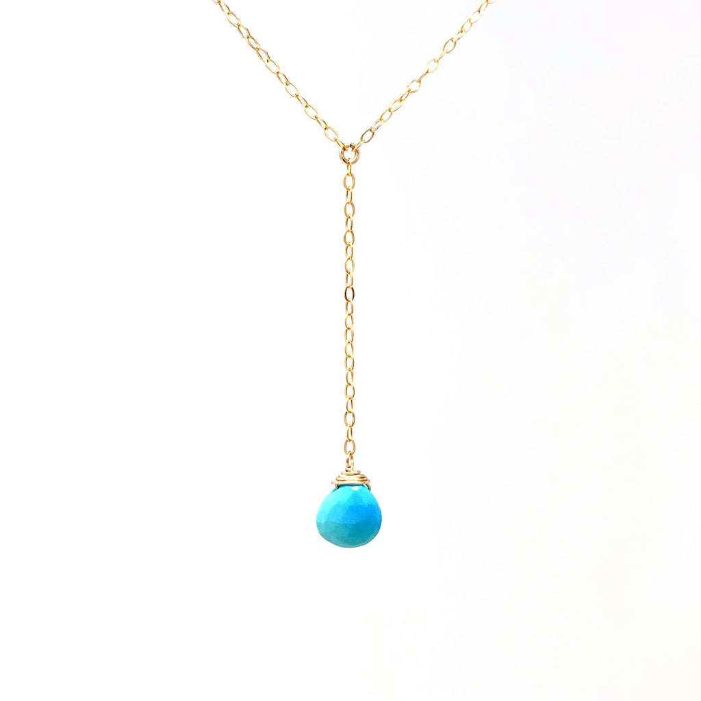 Turquoise Lariat Gold Necklace