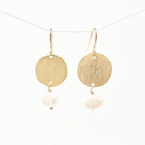 Pearl with Gold Disc Earrings