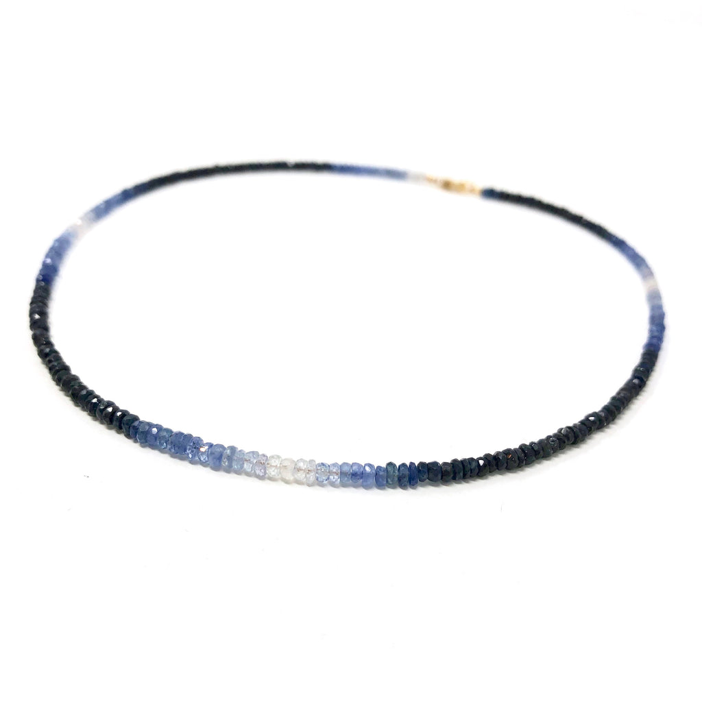 Real Blue Sapphire Ombre Beaded Necklace
