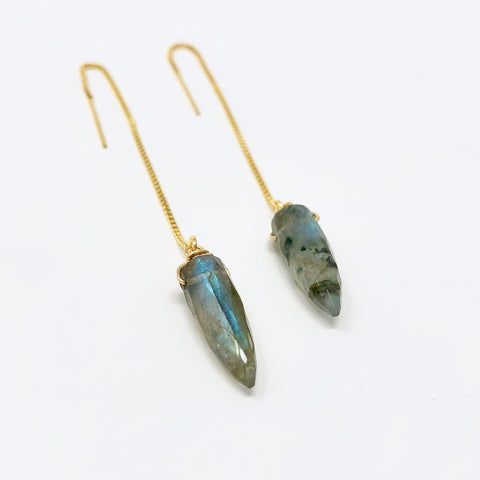 Labradorite Spike Box Chain Threader Earrings