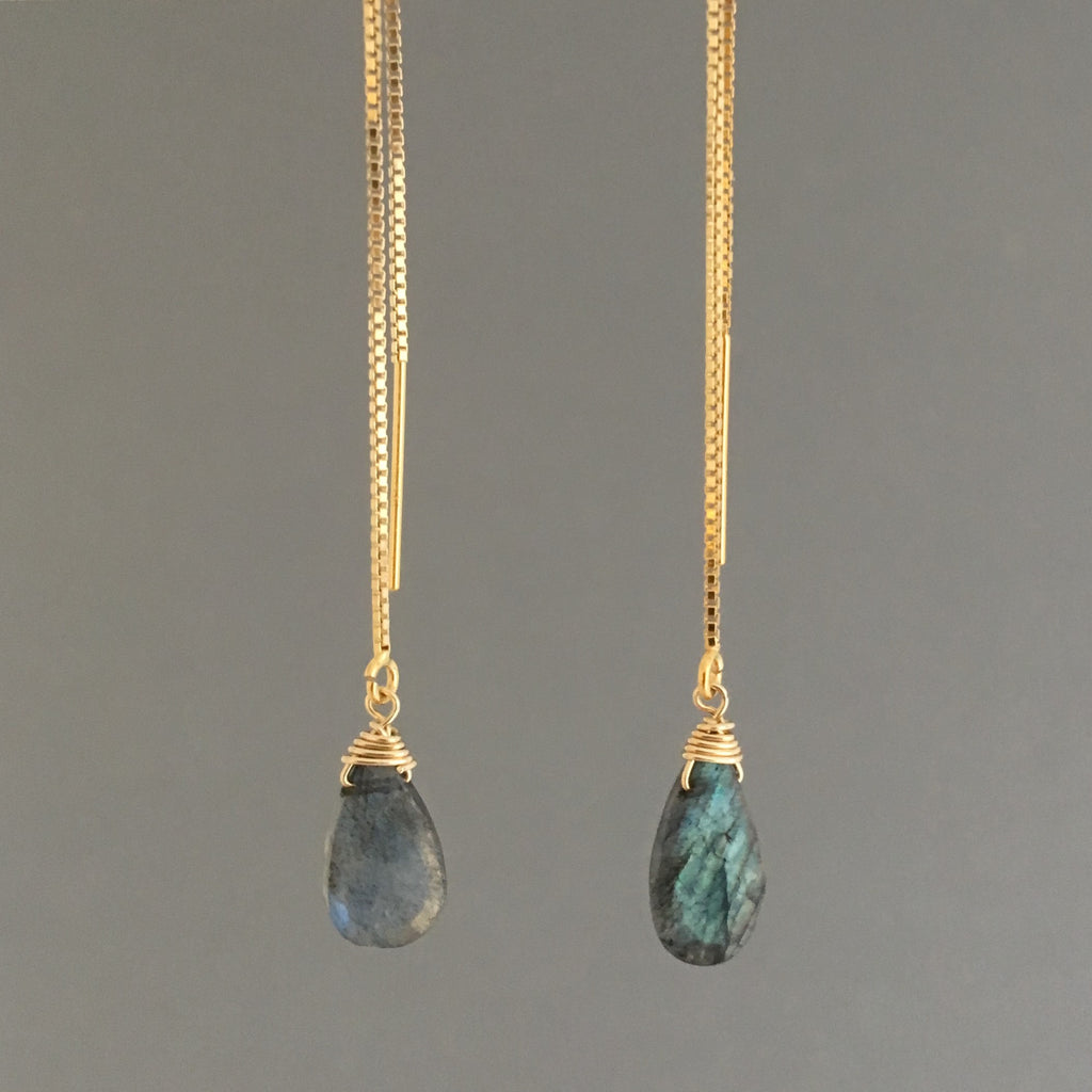 Labradorite Box Chain Threader Earrings in Gold Fill or Sterling Silver
