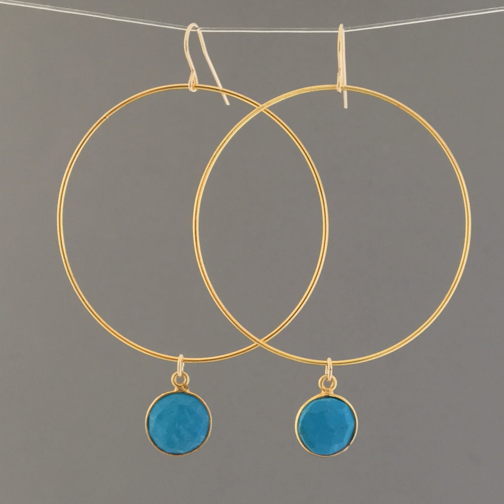 Large Gold Hoop Earrings with Turquoise Stone