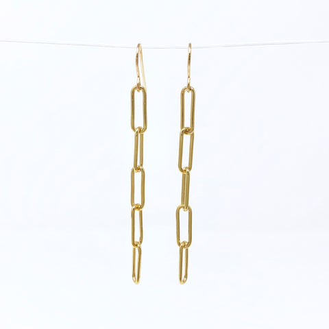 Gold Fill Long Rectangle Link Earrings