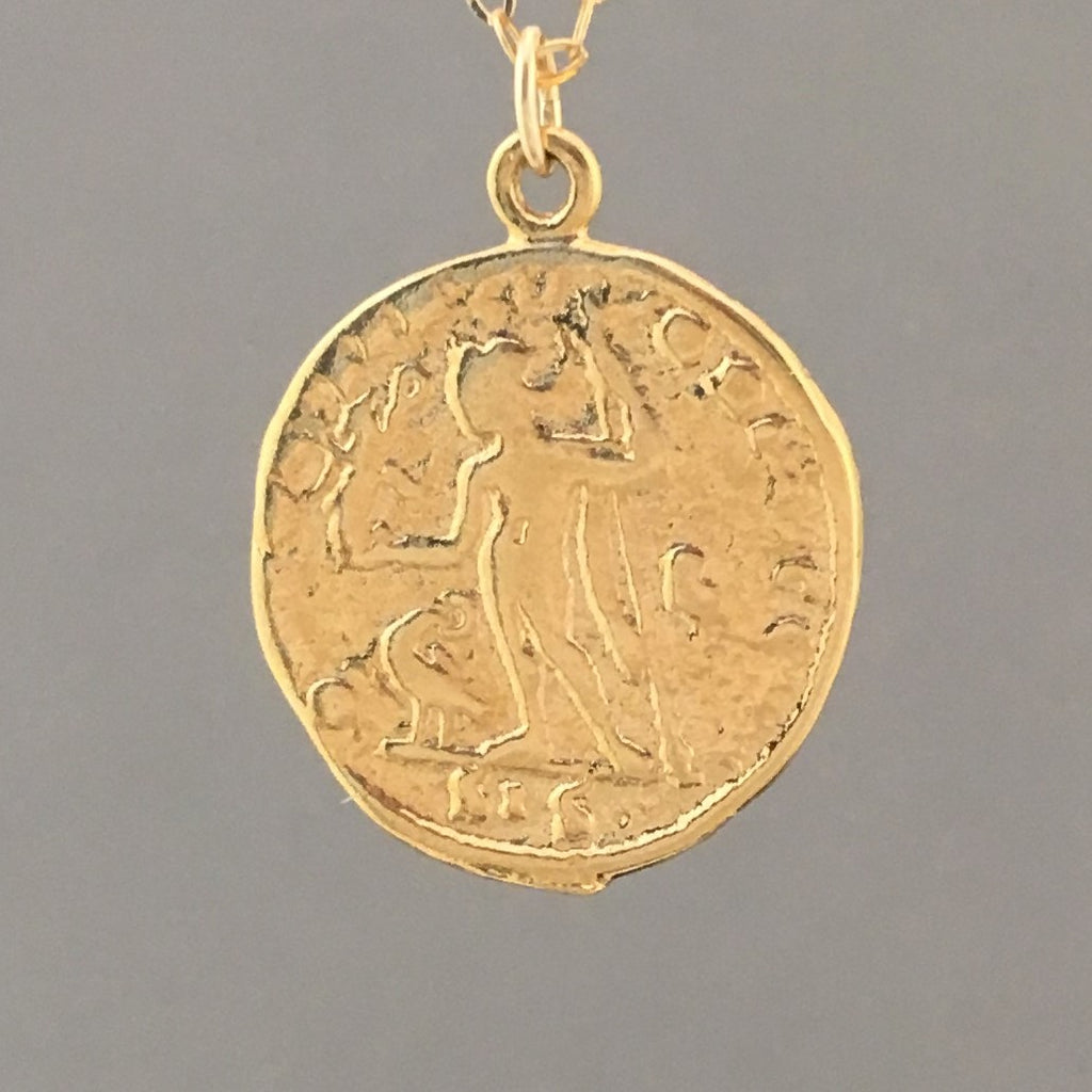 MEDIUM Two-Sided Ancient Coin GODDESS Pendant Gold Necklace - AC2
