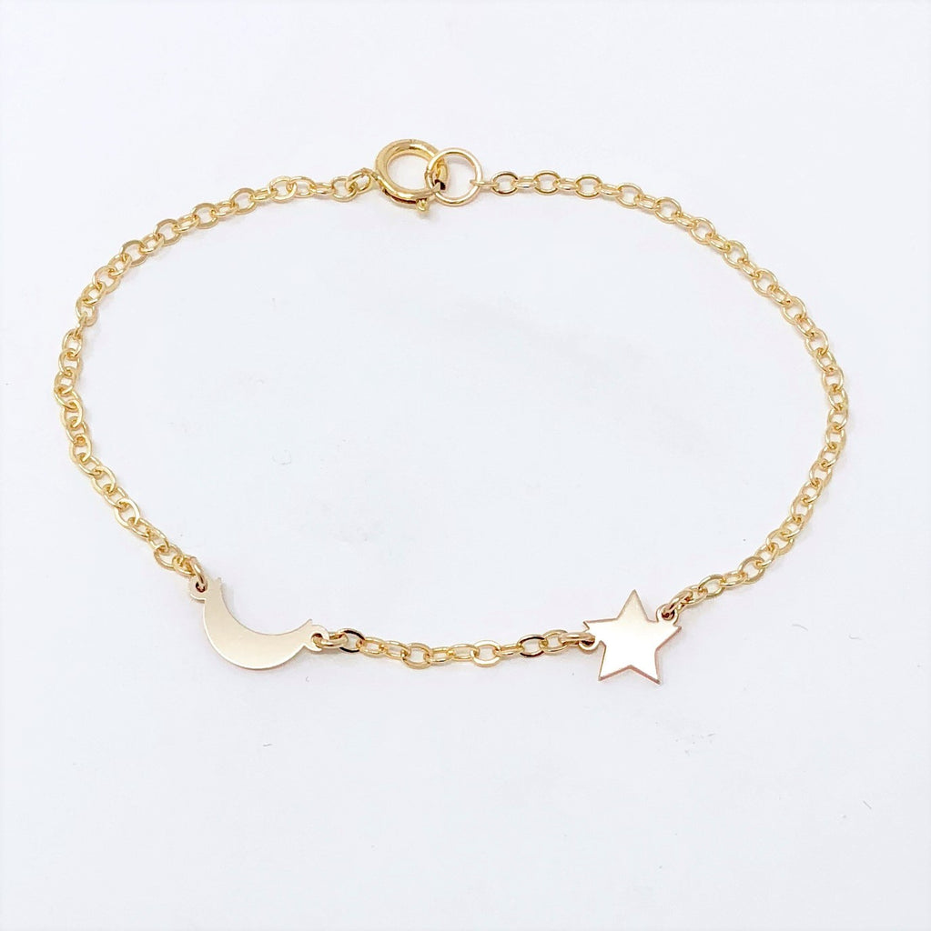 MOON and STAR Gold Fill BRACELET also available in Sterling Silver and Rose Gold Fill