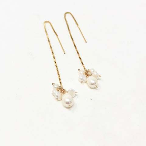 PEARL CLUSTER Box Chain Threader Earrings