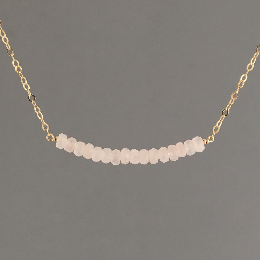 Pink Rose Quartz Curved Beaded Necklace