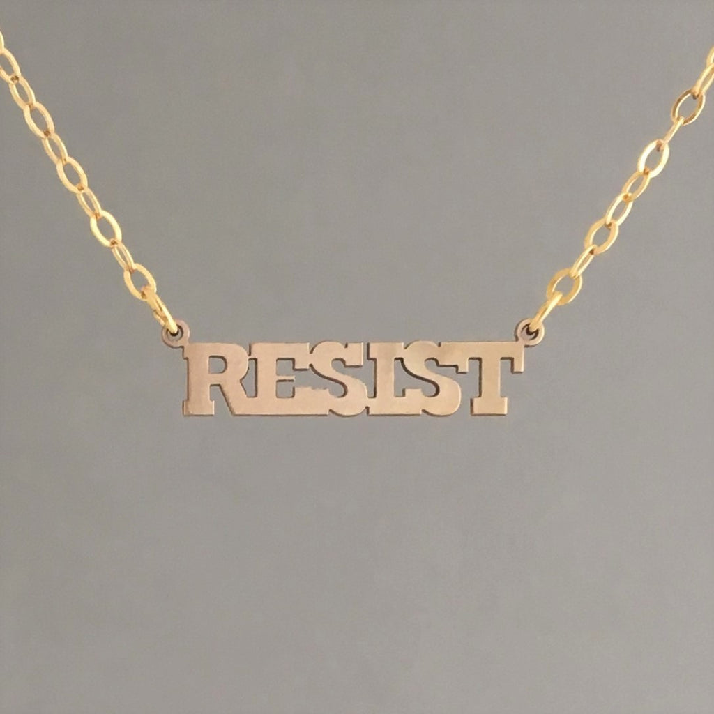 RESIST Word Charm Gold Fill Necklace also in Silver and Rose Gold Fill