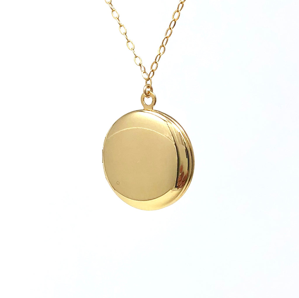 Large Round Gold Fill Locket Necklace