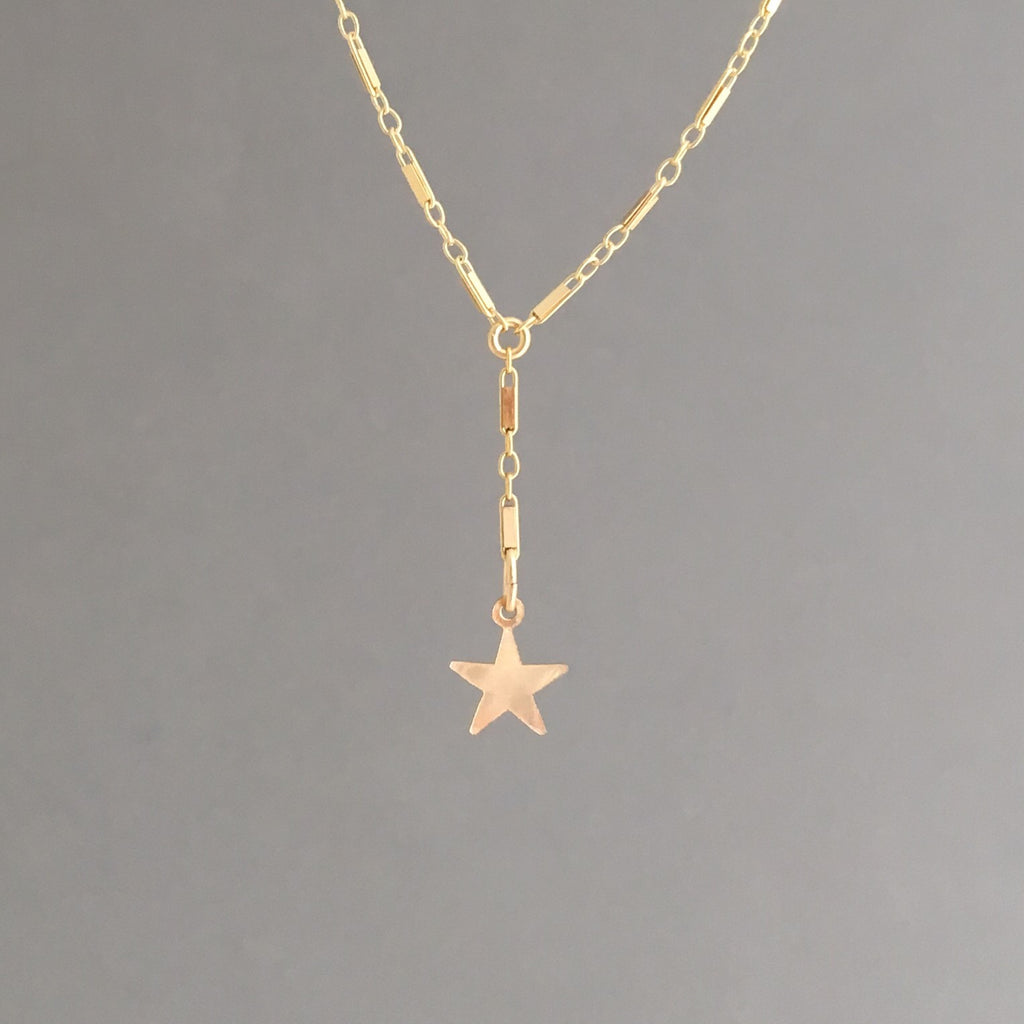 Single Star Bar Lariat Necklace available in Gold or Silver