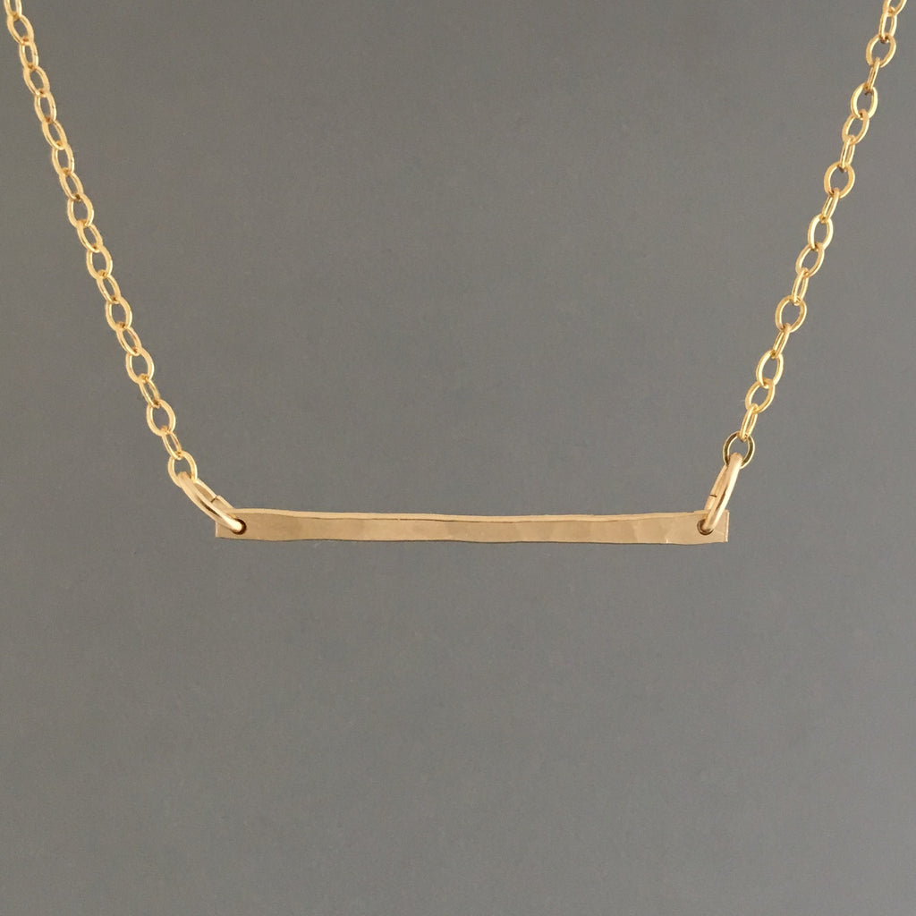 Skinny Hammered Bar Necklace