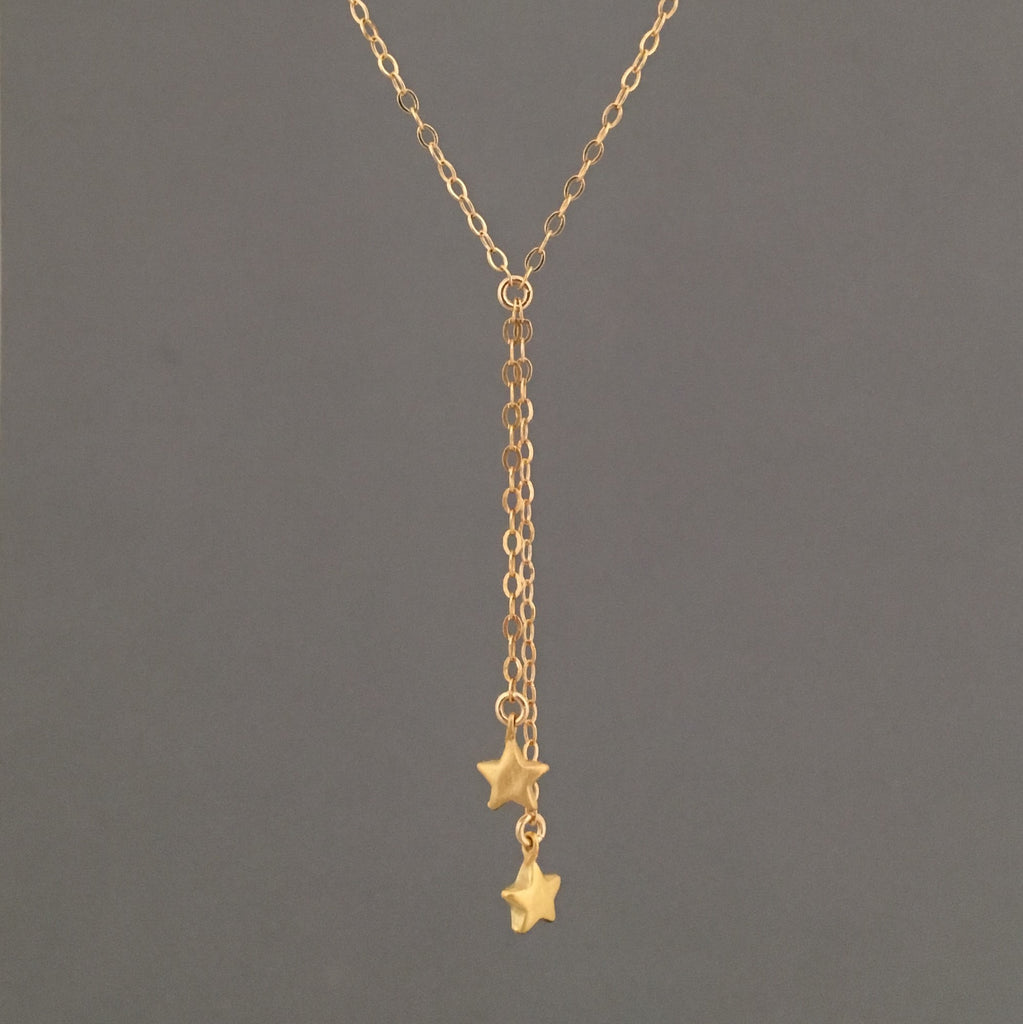 Two Stars Y Lariat Drop Necklace
