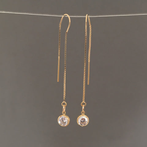 Gold Fill Swarovski Crystal Box Chain Threader Earrings