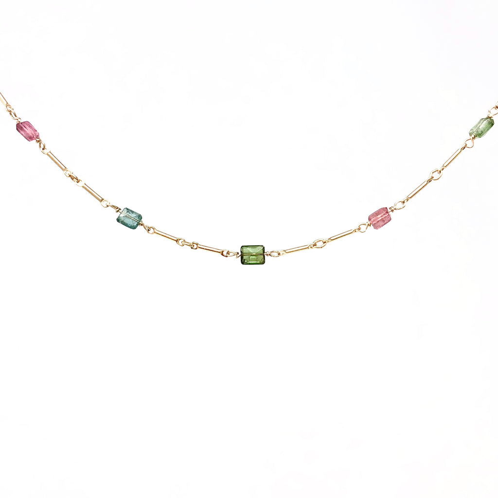 Tourmaline Stone Gold Bar Beaded Necklace